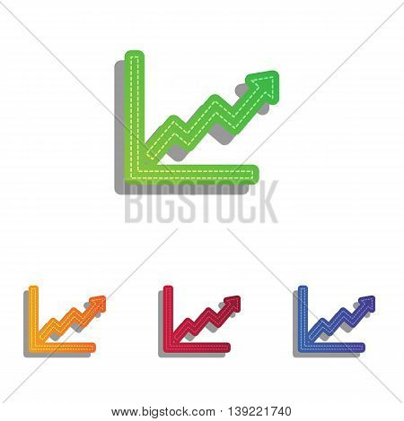 Growing bars graphic sign. Colorfull applique icons set.