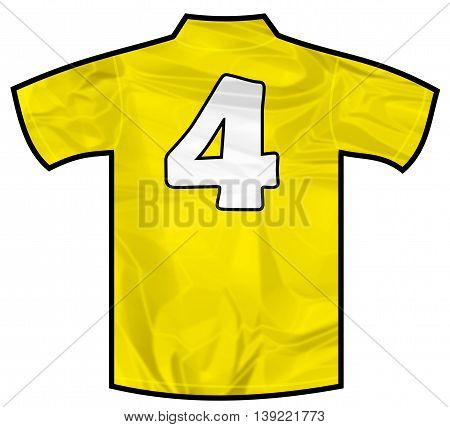 Number 4 four yellow sport shirt as a soccer, hockey, basket, rugby, baseball, volley or football team t-shirt. Like brazil national team