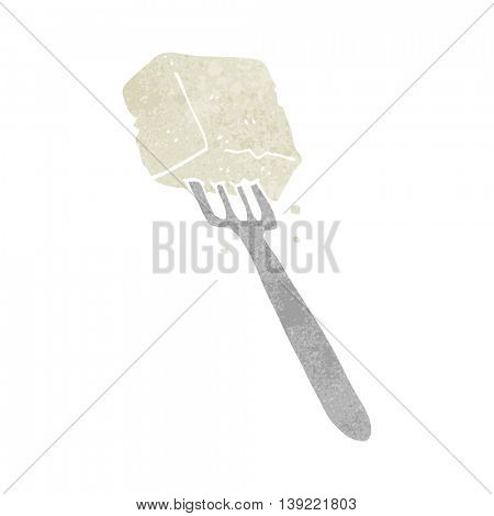 freehand retro cartoon tofu on fork