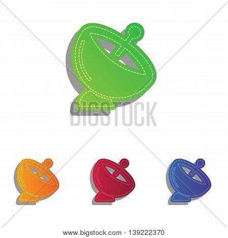 Satellite dish sign. Colorfull applique icons set.