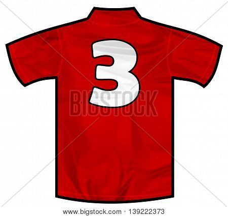 Number 3 three red sport shirt as a soccer, hockey, basket, rugby, baseball, volley or football team t-shirt. Like Spain or England or Russia national team