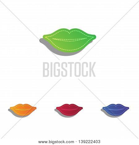 Lips sign illustration. Colorfull applique icons set.
