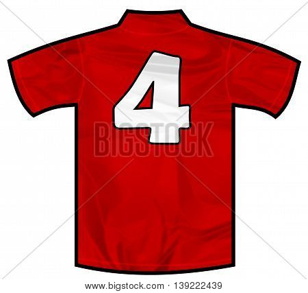 Number 4 four red sport shirt as a soccer, hockey, basket, rugby, baseball, volley or football team t-shirt. Like Spain or England or Russia national team