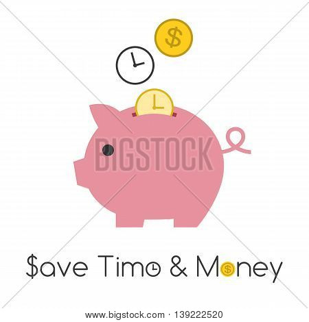 Vector piggy bank with golden coin, save time and money concept, flat design