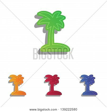 Coconut palm tree sign. Colorfull applique icons set.
