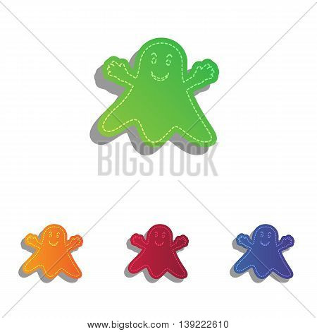 Ghost isolated sign. Colorfull applique icons set.