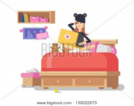 Girl with laptop in bedroom. Internet communication, love social technology, chat people, profile flat vector illustration