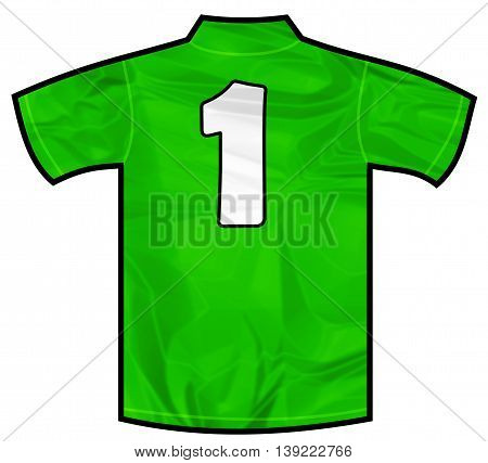 Number 1 one green sport shirt as a soccer, hockey, basketball, rugby, baseball, volley or football team t-shirt. Like Ireland or Mexico national team