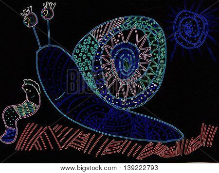Children drawing of snail with crayons in the inversion.