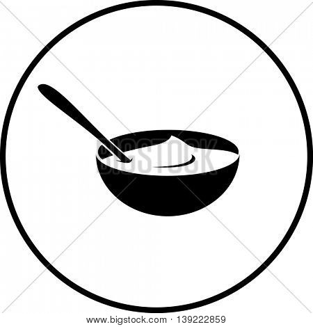 pudding in bowl with spoon