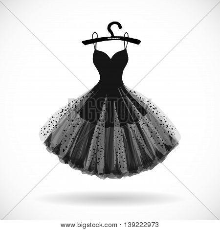 Little black chiffon dress hand drawn vector illustration