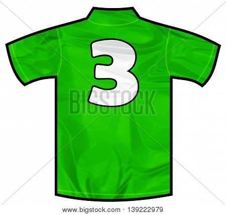 Number 3 three green sport shirt as a soccer, hockey, basketball, rugby, baseball, volley or football team t-shirt. Like Ireland or Mexico national team