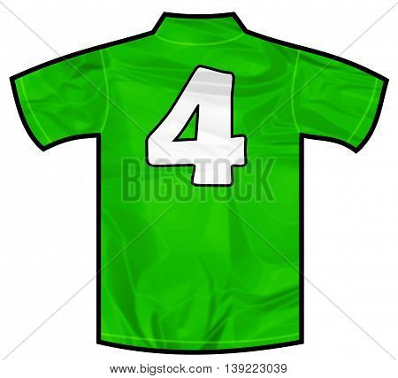 Number 4 four green sport shirt as a soccer, hockey, basketball, rugby, baseball, volley or football team t-shirt. Like Ireland or Mexico national team