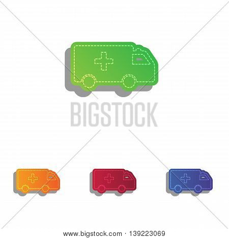 Ambulance sign illustration. Colorfull applique icons set.