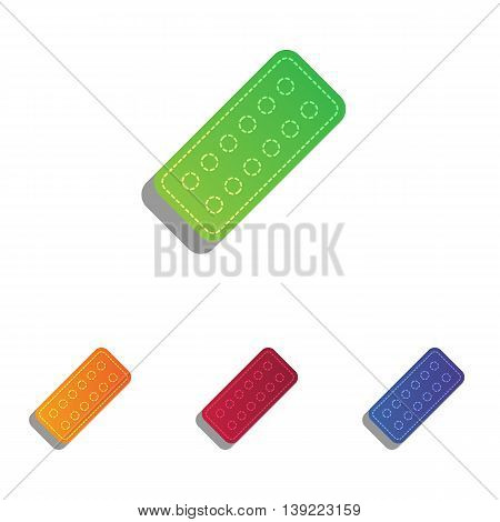 Medical Pills sign. Colorfull applique icons set.