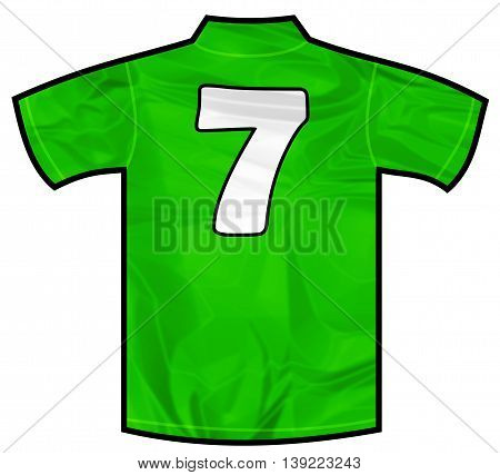 Number severn 7 green sport shirt as a soccer, hockey, basketball, rugby, baseball, volley or football team t-shirt. Like Ireland or Mexico national team