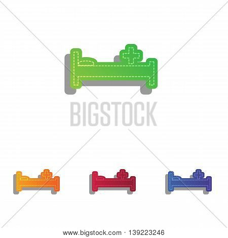 Hospital sign illustration. Colorfull applique icons set.