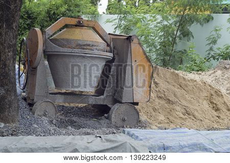 cement mixer site concrete construction sand build
