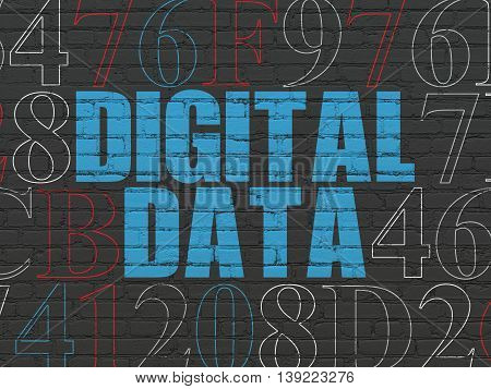 Information concept: Painted blue text Digital Data on Black Brick wall background with Hexadecimal Code