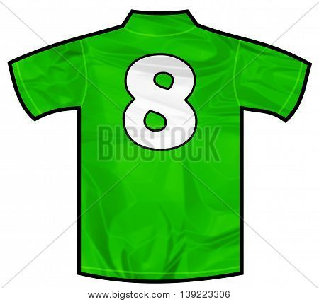 Number 8 eight green sport shirt as a soccer, hockey, basketball, rugby, baseball, volley or football team t-shirt. Like Ireland or Mexico national team