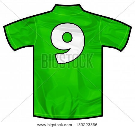 Number 9 nine green sport shirt as a soccer, hockey, basketball, rugby, baseball, volley or football team t-shirt. Like Ireland or Mexico national team