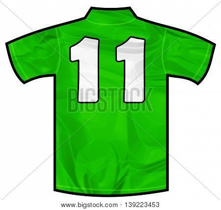 Number 11 eleven green sport shirt as a soccer, hockey, basketball, rugby, baseball, volley or football team t-shirt. Like Ireland or Mexico national team
