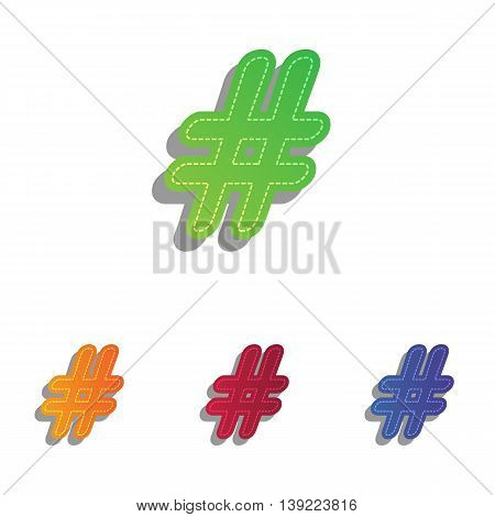 Hashtag sign illustration. Colorfull applique icons set.