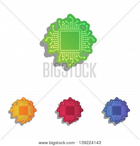 CPU Microprocessor illustration. Colorfull applique icons set.