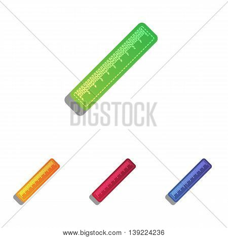Centimeter ruler sign. Colorfull applique icons set.