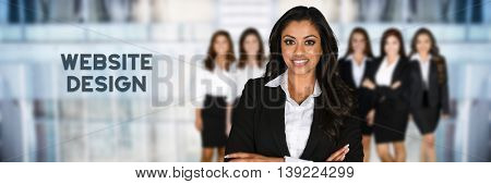 Woman who is designing a web site