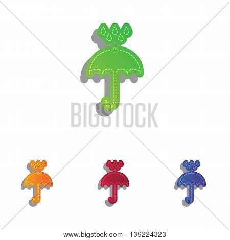 Umbrella with water drops. Rain protection symbol. Flat design style. Colorfull applique icons set.