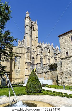 Narbonne - France July 17 2016: Cathedral of Saint Just et Saint Pasteur built in the 13th century in gothic style. Narbonne France