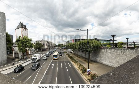 View To Freeway Around Mainz With View To The Rheingold Hall