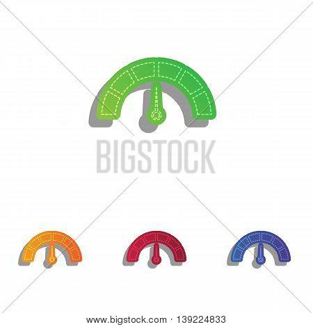 Speedometer sign illustration. Colorfull applique icons set.