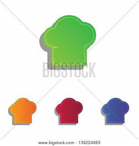 Chef cap sign. Colorfull applique icons set.