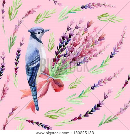 Blue jay with lavender seamless pattern on a pink background. Hand painted watercolor illustration.