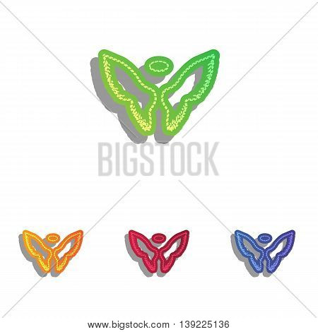 Wings sign illustration. Colorfull applique icons set.