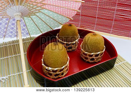 Kiwi fruit in an atmosphere of Japanese-style