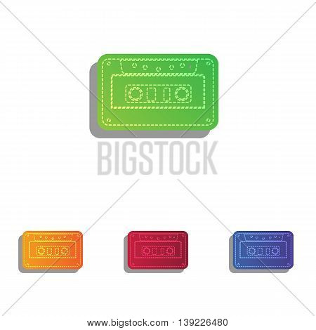 Cassette icon, audio tape sign. Colorfull applique icons set.