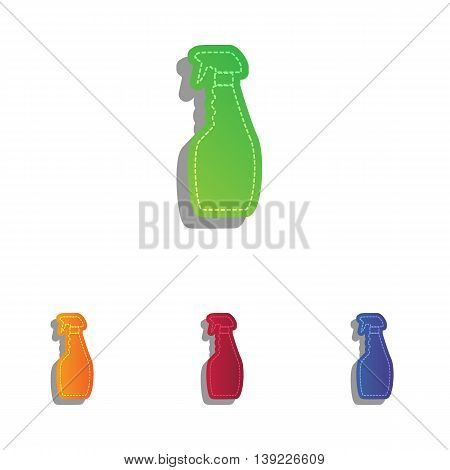 Plastic bottle for cleaning. Colorfull applique icons set.