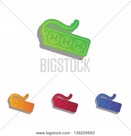 Electric extension plug sign. Colorfull applique icons set.