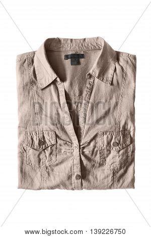 Folded khaki shirt isolated on white background