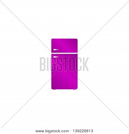 Icon Of Refrigerator On Glossy Button. Eps-10