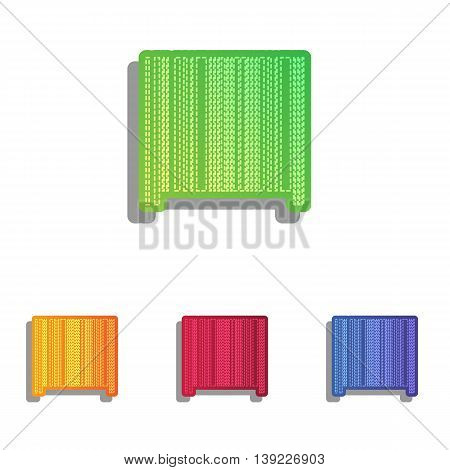 Bar code sign. Colorfull applique icons set.