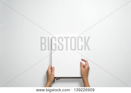 Hands Holding White A Blank Paper