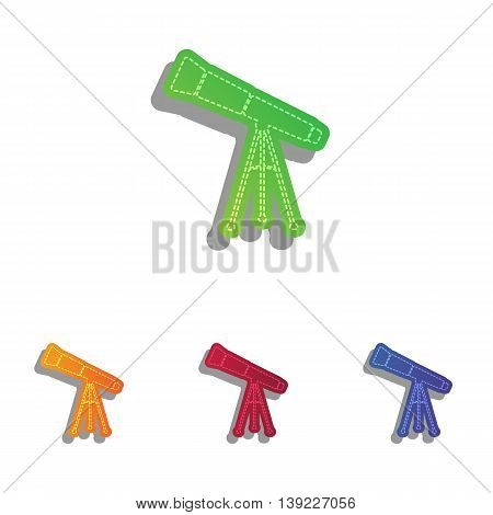 Telescope simple sign. Colorfull applique icons set.