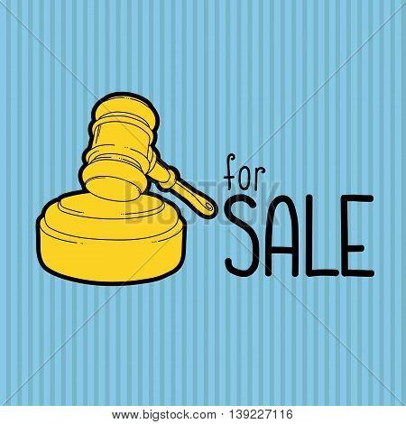 Gold gavel - hammer of judge or auctioneer. Big sale advertisement. Color illustration on blue background. EPS10