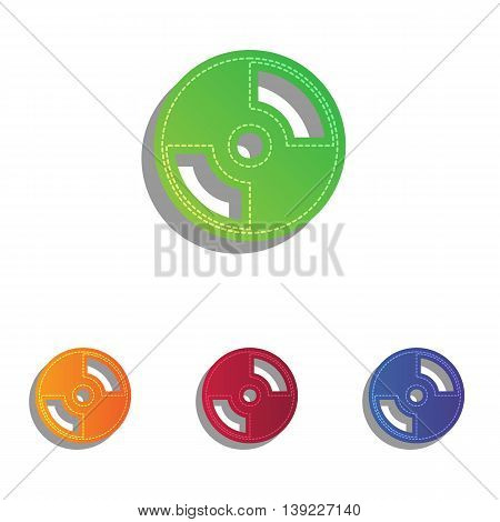 Vector CD or DVD sign. Colorfull applique icons set.