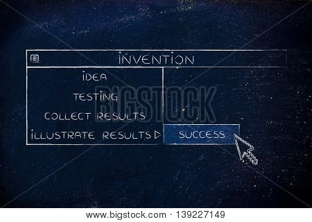 Invention Dropdown Menu, Pointer Selecting The Success Option