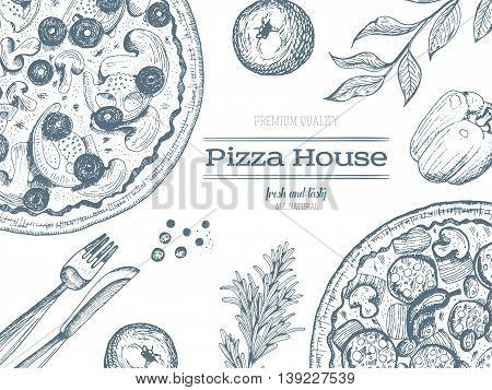 Pizza design template. Vector illustration drawn in ink. Vintage design for pizzeria